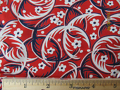 """Vintage Rayon Red Floral Flower Feather Swirl Fabric 37"""" W x 117"""" L, Excellent"""