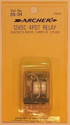 RadioShack 275-214 4PDT Plug-In Relay ~ Coil: 12VDC ~ Contacts: 3A at 125VAC