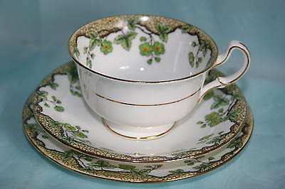 Vintage Aynsley bone china cup saucer plate trio - Green Flowers & Leafs