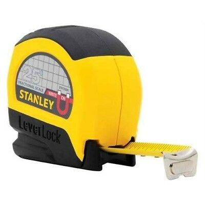 """Stanley STHT33281 Lever Lock Tape Rule with Magnetic Tip, 25' x 1"""""""