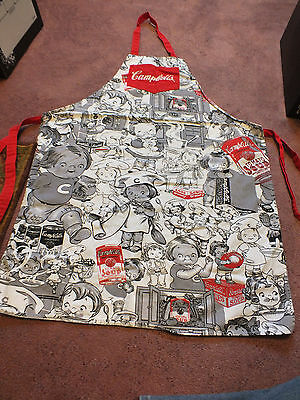Collectible Licensed Campbell's Soup Apron Black White Gray Red Campbell's Kids