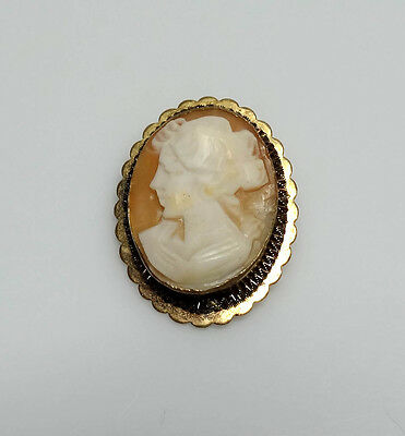 Vintage .800 Silver Carved Genuine Shell Cameo Victorian Lady Brooch/Pendant