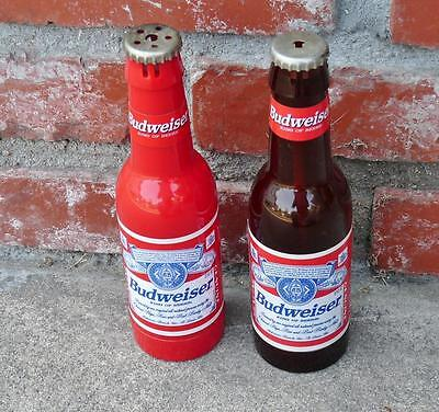 """2 Budweiser Bottles Table Lighters Plastic 7 3/4"""" Tall Breweriana Beer Collector"""