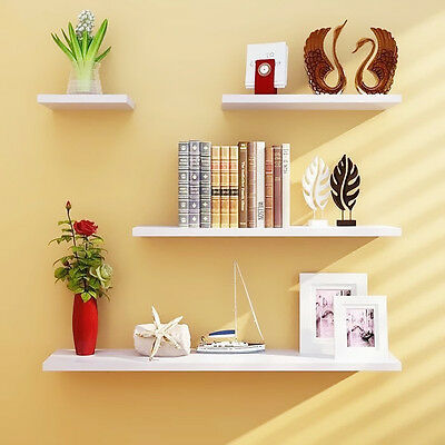Wall Shelves 4pcs Set Shelf Floating Display Decor Home Wood Wall Mount HDRA293