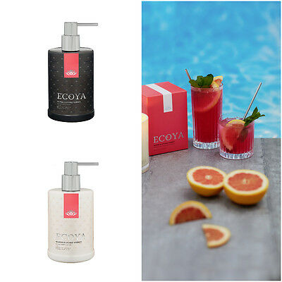 ECOYA Set of TWO 2 Hand Wash & Body Lotion 500ml Pump Packs Guava Lychee Sorbet