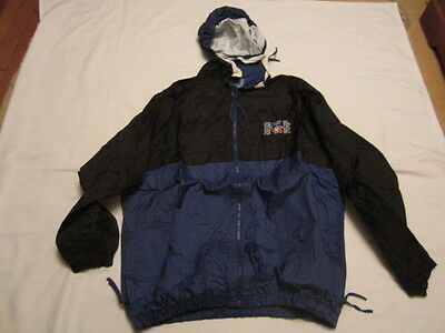 Preowned Men's Size Large Trimark Hooded Blue & Black Rain Jacket WYD JMJ 2002
