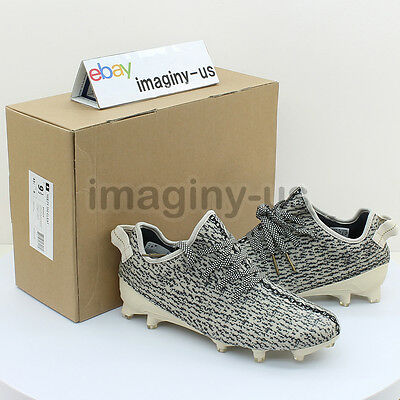 adidas B42410 YEEZY 350 CLEAT CHALK WHITE/BLACK/METALIC GOLD SIZE:9.5 IN HAND