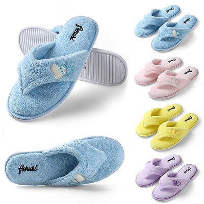 Women's Plush Spa Thong Slippers Winter Warm House Shoes US Size 6 7 8 9 10 11