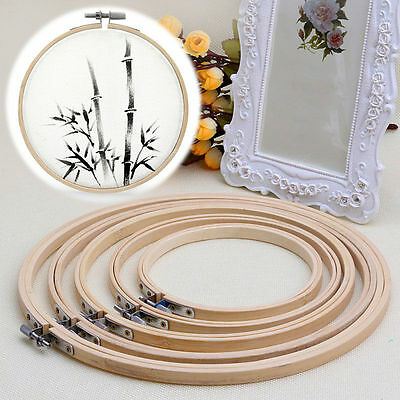 Wooden Cross Stitch Machine Embroidery Hoop Ring Bamboo Sewing 13-30cm TOP