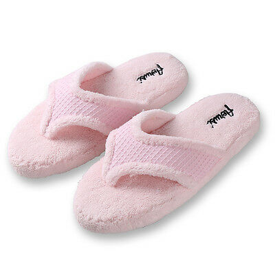 Aerusi Pink Women Fuzzy Plush Thong Spa Slippers Memory Foam Indoor House Shoes
