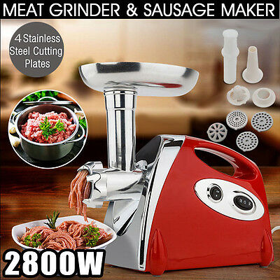 2800W Powerful Kitchen Steel Electric Meat Mincer Grinder Sausage Maker Red