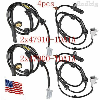 4pcs Front+Rear ABS Wheel Speed Sensor Fits Nissan Rogue 2.5L 2WD 2008-2013