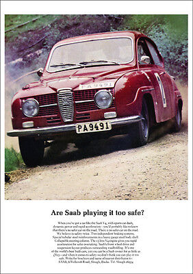 Saab 96 V4 Rally Retro A3 Poster Print From Classic 60's Advert
