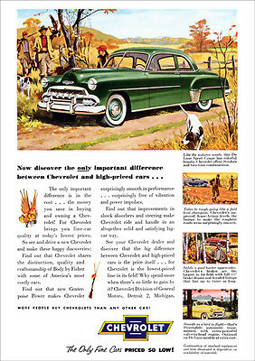 Chevrolet 52 Deluxe Sport Coupe Retro A3 Poster Print From Advert 1952