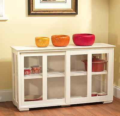 Kitchen Stackable Storage Cabinet Glass Doors Buffet Dining Room