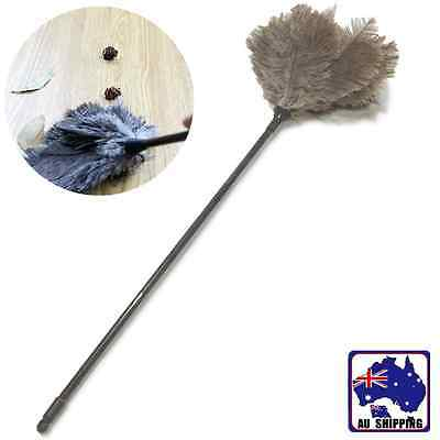 2x 60cm Ostrich Feather Duster Grey House Cleaning Plastic Handle HSCC31509x2