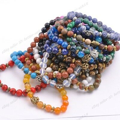 8MM Natural Gemstone Round Beads Lion Head Stretchy Bracelets
