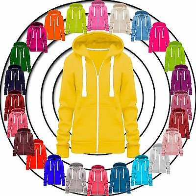Ladies Womens Hoodie Zip Plain Sweatshirt Jacket Hooded Fleece Coat Hoody Top