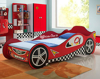 NEW KIDS BOYS SPORTS RACING CAR Single BED BEDROOM Furniture RED TIMBER SLAT