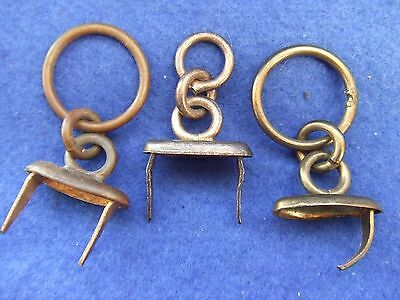3 X Victorian British Army Officers Pouch Belt Fixings With Chain Loops To Belt