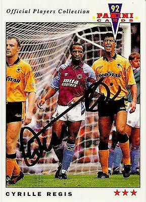 A Panini 92 card featuring & personally signed by Cyrille Regis of Aston Villa.