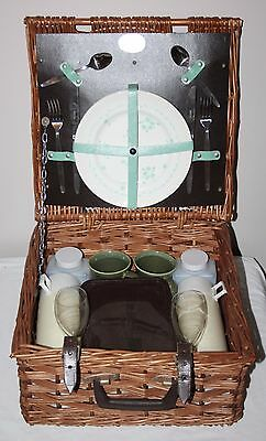 Brexton Collection - Vintage Wicker Picnic Hamper for 2 - Complete