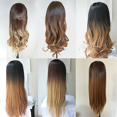 Ombré 3/4 Full Wig Clip in Hair Combs Long Straight Wavy Curly Cap Lace One Size