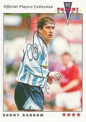 A Panini 92 card featuring & personally signed by Kenny Sansom of Coventry City.