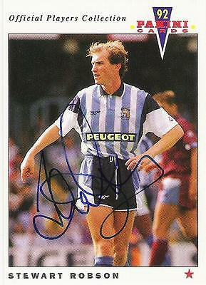 A Panini 92 card featuring & personally signed by Stewart Robson Coventry City.
