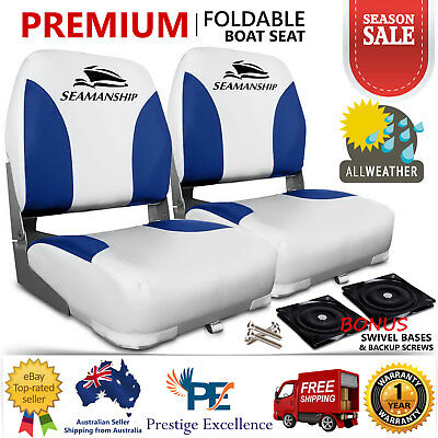 2 X Premium Folding Boat Seats Marine All Weather Swivel Seating White Blue New