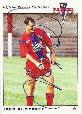 A Panini 92 card featuring & personally signed by John Humphrey Crystal Palace.