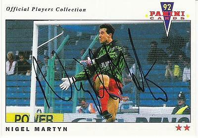 A Panini 92 card featuring & personally signed by Nigel Martyn of Crystal Palace