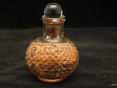 ANTIQUE HOBNAIL POISON BOTTLE w/ STOPPER CROSS & BONES LABEL DRUGGIST/PHARMACIST