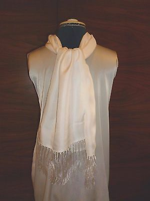 100% silk men's cravat/scarf White with fringes NEW