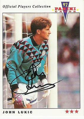 A Panini 92 card featuring & personally signed by John Lukic of Leeds United.