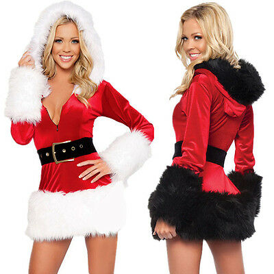 Sexy Women Santa Christmas Costume Fancy Dress Xmas Office Party Cosplay Outfit