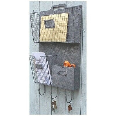 Industrial Urban Style Wall Mount Letter Storage Rack and Key Holder Metal Wire