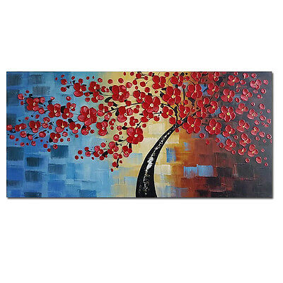 Framed Abstract Hand Paint Canvas Oil Painting Home Decor Wall Art Flower Tree