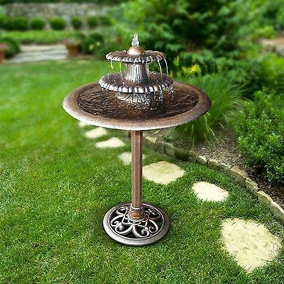 Garden Water Fountain Feature Bird Bath Bronze Resin 3 Tier