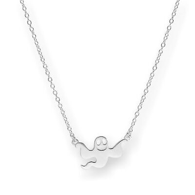 Real 925 Sterling Silver Flying Ghost Necklace on 18 Inch Chain Halloween
