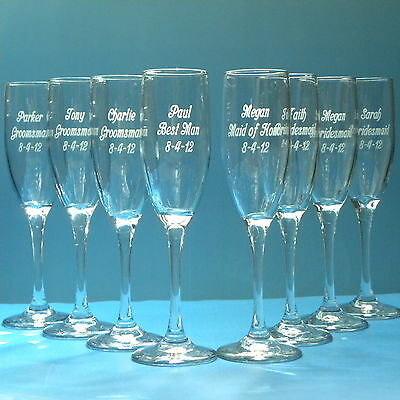 8 Engraved Wedding Glasses Bridesmaid Groomsmen Personalized Wine Flutes