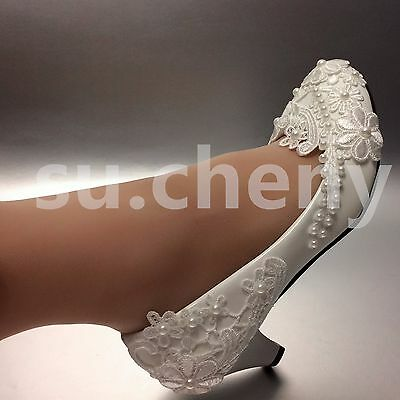 Lace white light ivory pearls Wedding shoes flats low high heel pump size 5-12