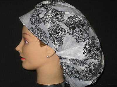 Surgical Scrub Hats/Caps Sugar Skulls Black and Silver