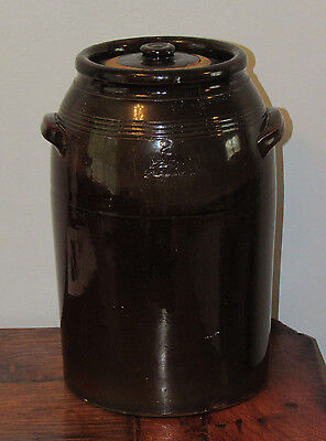 Old PEORIA POTTERY 2 Gallon Brown Stoneware Crock Jar Butter Churn w lid IL