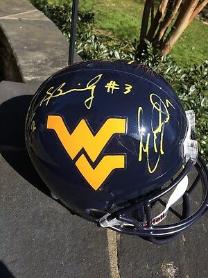 West Virginia Mountaineers Autographed Full Size Football Helment Past Stars