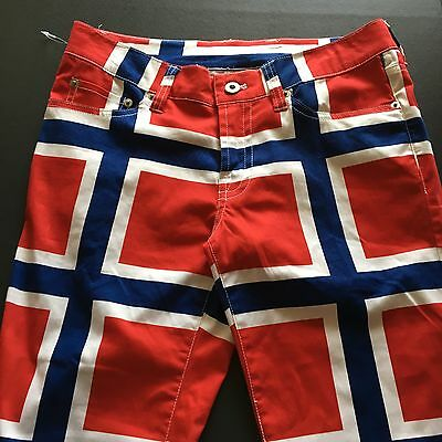 Loudmouth Golf Womens Long Pants Norway Flag Size 2 NWOT Red White Blue