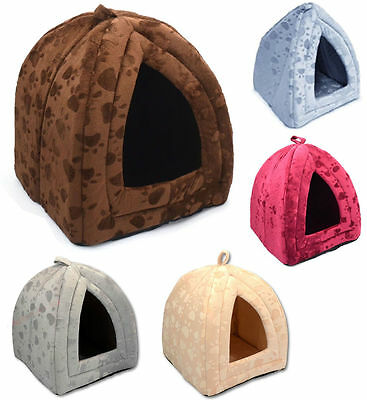 Pet House Igloo Warm Insulated Padded Cosy Cave Bed house Dog Cat Kitten Brown