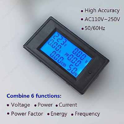 AC 100A Multimeter Voltage Current Power Factor Frequency Energy 110V 220V 6in1