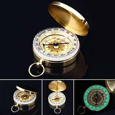 Brass Small Pocket Watch Compass Camping Outdoor Navigation EDC Survival Tool