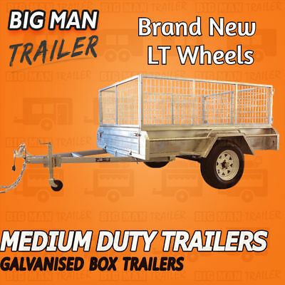 6x4 WHITE LT WHEEL SINGLE AXLE BOX TRAILER GALVANISED CAGE WELD HEAVY DUTY